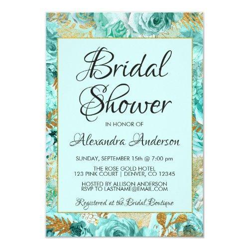 Teal Floral Roses Bridal Shower Monogram Invitations