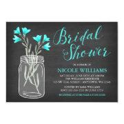 Teal Flowers Mason Jar Chalkboard Bridal Shower