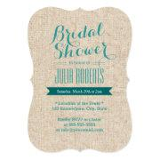Teal Green Rustic Burlap Texture Bridal Shower