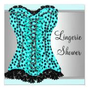 Teal Leopard Corset Lingerie Bridal Shower Personalized Invitation