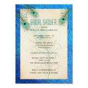 Teal Peacock Feathers Bridal Shower
