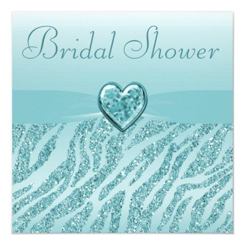 Teal Printed Heart & Zebra Glitter Bridal Shower Invitations
