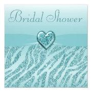 Teal Printed Heart & Zebra Glitter Bridal Shower Invitation