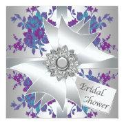 Teal Purple Roses Bridal Shower