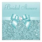 Teal Sequins, Bow & Diamond Bridal Shower