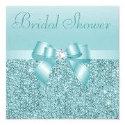 Teal Sequins, Bow & Diamond Bridal Shower Invitation