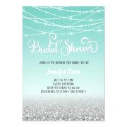 Teal Silver Glitter Bridal Shower