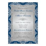 Teal, Silver Glitter Damask Bridal Shower Invite