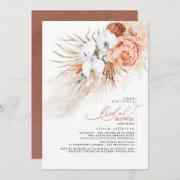 Terracotta Floral Pampas Grass Bridal Shower Invit Invitation
