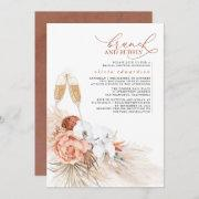Terracotta Floral Pampas Grass Brunch And Bubbly Invitation