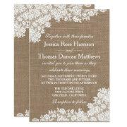 The Rustic Burlap & Vintage White Lace Collection Invitation