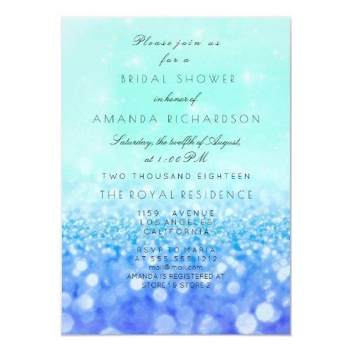 Tiffany Aqua Navy Blue Mint Glitter Bridal Shower Invitation