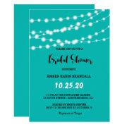 Tiffany Blue Glowing String Lights Bridal Shower Invitation