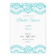tiffany blue lace bridal shower invitations