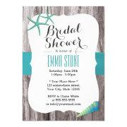 Tiffany Blue Seashells Beach Theme Bridal Shower Invitation