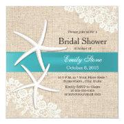 Tiffany Blue Starfish Lace & Burlap Bridal Shower Invitation