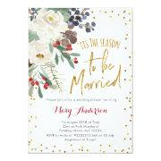 Tis The Season To Be Married Christmas Floral Invitation