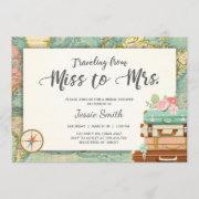 Travel Bridal Shower Invitation Miss To Mrs