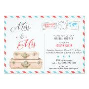 Travel Bridal Shower Invitation, Miss To Mrs