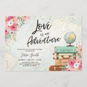 Travel Themed Bridal Shower Love Is Adventure Pink Invitation
