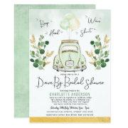 Traveling Greenery Gold Drive By Bridal Shower Invitation