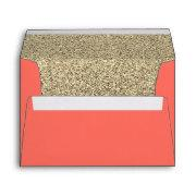 Trendy Faux Glitter Living Coral Gold Envelope