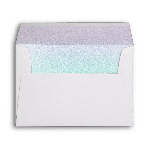 Trendy Faux Glitter Purple Green Ombre Elegant Envelope