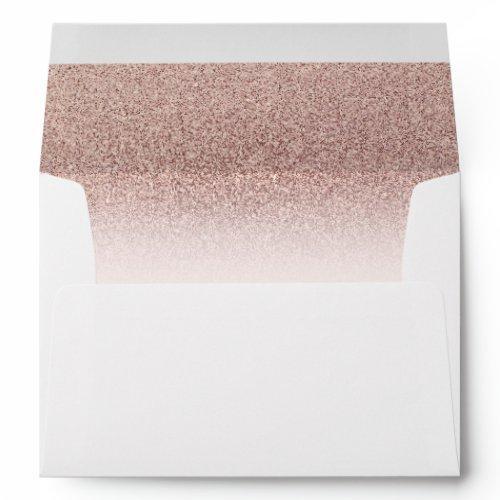 Trendy Faux Glitter Rose Gold Elegant Envelope