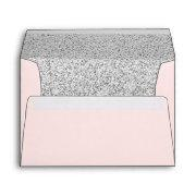 Trendy Pink Silver Glitter Elegant Envelope