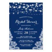 Trendy String Lights Lace Navy Blue Bridal Shower
