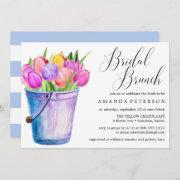 Trendy Watercolor Tulips Wedding Bridal Brunch Invitation