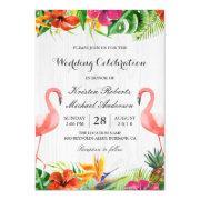 Tropical Floral Flamingo Couple Wedding