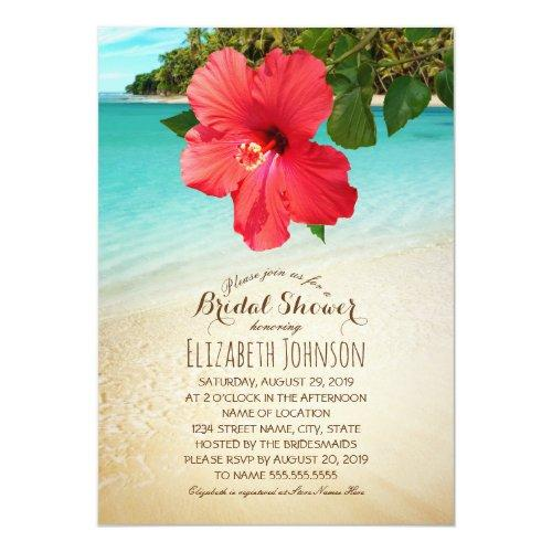 Tropical Hibiscus Beach Themed Bridal Shower Invitations