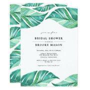 Tropical Leaves Summer Bridal Shower Invitation