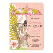 Tropical Lingerie Shower Brunette Bride Invitations