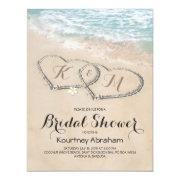 Tropical Vintage Beach Heart Bridal Shower Invitations