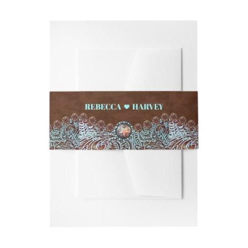 Turquoise Brown Cowboy Country Western Wedding Invitation Belly Band