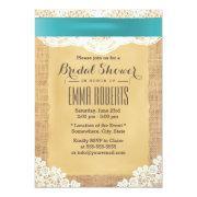 Turquoise Ribbon & Lace Burlap Bridal Shower