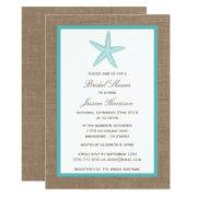 Turquoise Starfish Beach Burlap Bridal Shower Invitations