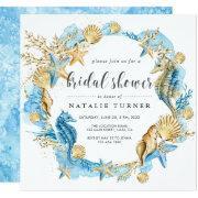 Under The Sea Blue & Gold Bridal Shower Invitation