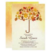 Unique Fall Leaves Umbrella Bridal Shower Invite