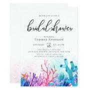 Vibrant Coral Reefs Bridal Shower Invitation