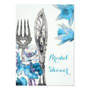 Vintage Blue Cutlery Poppy Daffodil