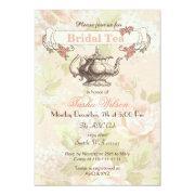 Vintage Blush Floral Bridal Tea Party Invites