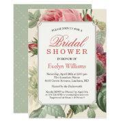 Vintage Botanical Floral Bridal Shower Invitation