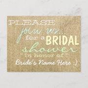 Vintage Burlap Country Bridal Shower