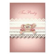 Vintage Country Lace Pink Floral Teacup Tea Party