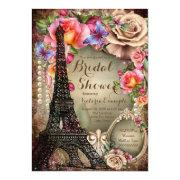 Vintage Eiffel Tower Paris Bridal Shower Invitation