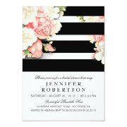 Vintage Floral Black White Stripes Bridal Shower