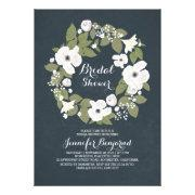 vintage flowers wreath rustic bridal shower invite
